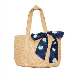 Draper James Straw Bag Floral Scarf